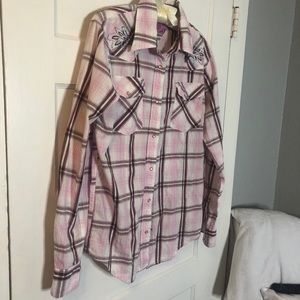 GUC Pink plaid pearl snap western shirt!
